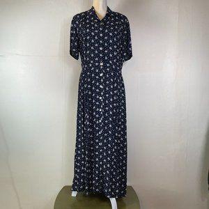 PLUS SIZE 14 Laura Ashley Black Floral Maxi Dress